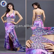 sexy púrpura de impresión de tela de cuentas de ojo de la cerradura revelando sexy vestido de noche