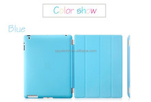 Folding kickstand slim smart tablet cover case with transparent back shell for iPad Mini(Blue)