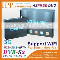 2015 Decodificador de satelite hd azfree duo with iptv 3G iks sks for South America