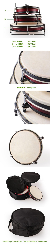 Hand drum set com saco de nylon conjunto de percussão da música instrumento