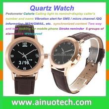 IP67 water resistant watch LED long standby bluetooth vibration smart wrist watch slim stone quartz watch