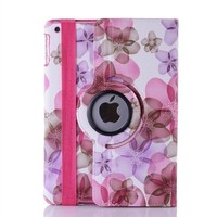 For iPad Air 2 Fashion Butterfly Flowers 360 Rotation PU Leather Case Smart Cover With Auto Sleep & Wake up