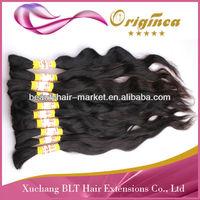 "7A brazilian remy indian natural color virgin hair bulk one person one bundle 22"" 1kg/lot"