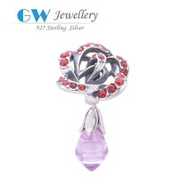 CZ pave bead,925 sterling silver pendant charm,replica 925 silver jewelry