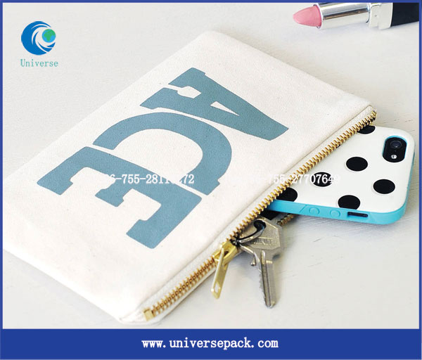 Arch string canvas zipper pen bag for school students