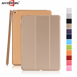 Manufactory Three Fold Stand Magnetic Flip Cover Smart Awakening Case for iPad mini 4 with golden color