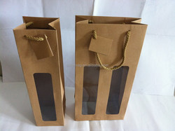 Wine paper bag with PVC window