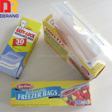 A-line reclosable LDPE plastic zip top bag in box