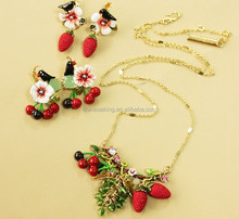 Enamel glaze jewelry set sweety cherry&strawberry earrings fruits design necklaces wholesale