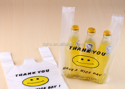 clear smiling face plastic grocery bag with handle
