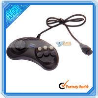 Black 0.8M Six Button Game Controller For Sega (V00276)