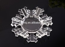 innovative snowflake shaped crystal candle holder for wedding & decoration favors