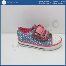 beautiful girls canvas shoes with diamond toe cap, girl bowknot ornament veclro strap shoes, girls princess footwear