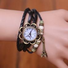 Hot Sale Original High Quality Women Genuine Vintage Leather Bracelet Black Leather Watch Band