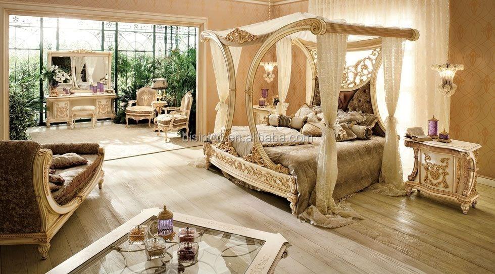 Style royal europ enne sculpt la main en bois de for Chambre a coucher royale