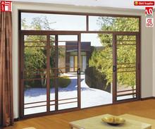 powder coating balcony sliding doors/double track sliding door/double glass aluminium sliding door