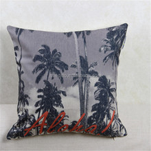 Hawaii beach style greeting or parting theme pattern printed pillow cover,aloha palm trees printed cushion cover