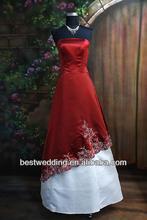 2013 venta caliente simple pero elegante vestido strapless de color rojo y blanco de la boda vestidos 150 bajo