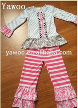 girls fall boutique clothing wholesale baby cotton outfit 2 pc ruffel set children clothes