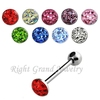 14G 316L Surgical Stainless Steel Tongue Rings Multi Gems Epoxy Crystal Tongue Barbell