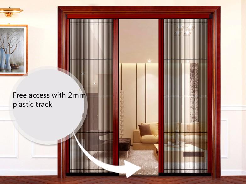 Sans rail moustiquaire plissee r tractable porte avec pp for Fenetre a fer maille et verre dormant