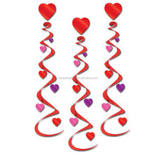 New Design Valentines Day Red Hearts Decorations Hanging Swirl wedding party decoration