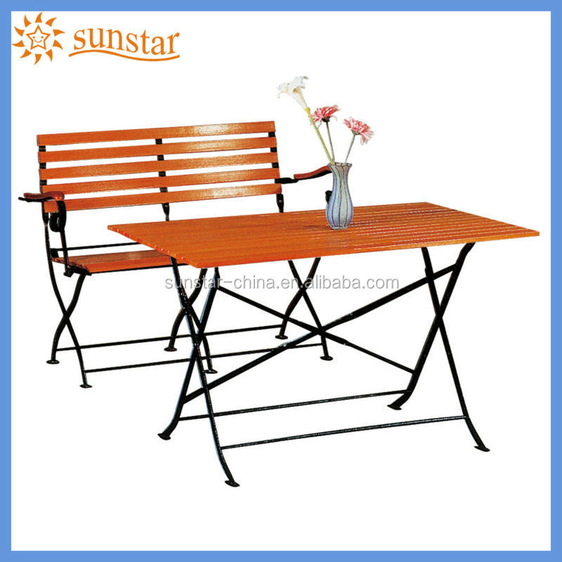 Double seat Folding Metal Frame Teak Wood Slat Garden Chair And Garden Table