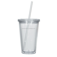 Personalized clear blank acrylic tumbler with straw manufacturers
