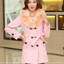 WA9183 Fashion fake fur collar woolen coat long double-breasted woolen coat for aldy