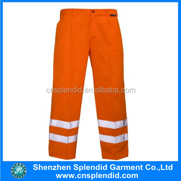 high visibility 100% cottom waterproof reflective work pants with big pocket