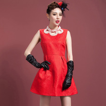 2015 European and American fashion sleeveless girls party dresses