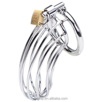 Plated Zinc Alloy Male Chastity Device Cock Cages Men's Virginity Lock Penis Ring Adult Products Games Sex Toys for boys M500