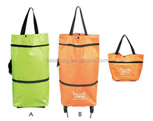 Yiwu manufacturer cheap price strong polyester 2 wheels trolley shopping bag vegetable