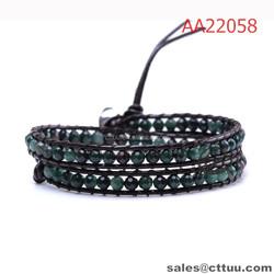 China bracelet manufacturer dark green handmade wrap bracelet