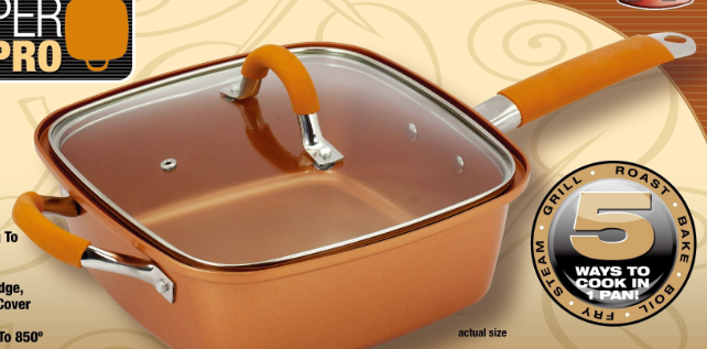 Copper Chef 9 5 Quot Square Fry Pan With Lid Copper Cookware