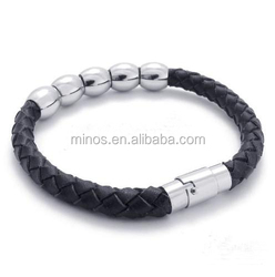 Stylish Bangles Jewellery For Men Stainless Steel Bead Leather Jewelry Black Bracelets Free Shipping