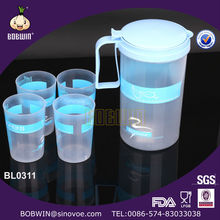 1.8 L Plastic Water Jug with 4 cups /water pitcher
