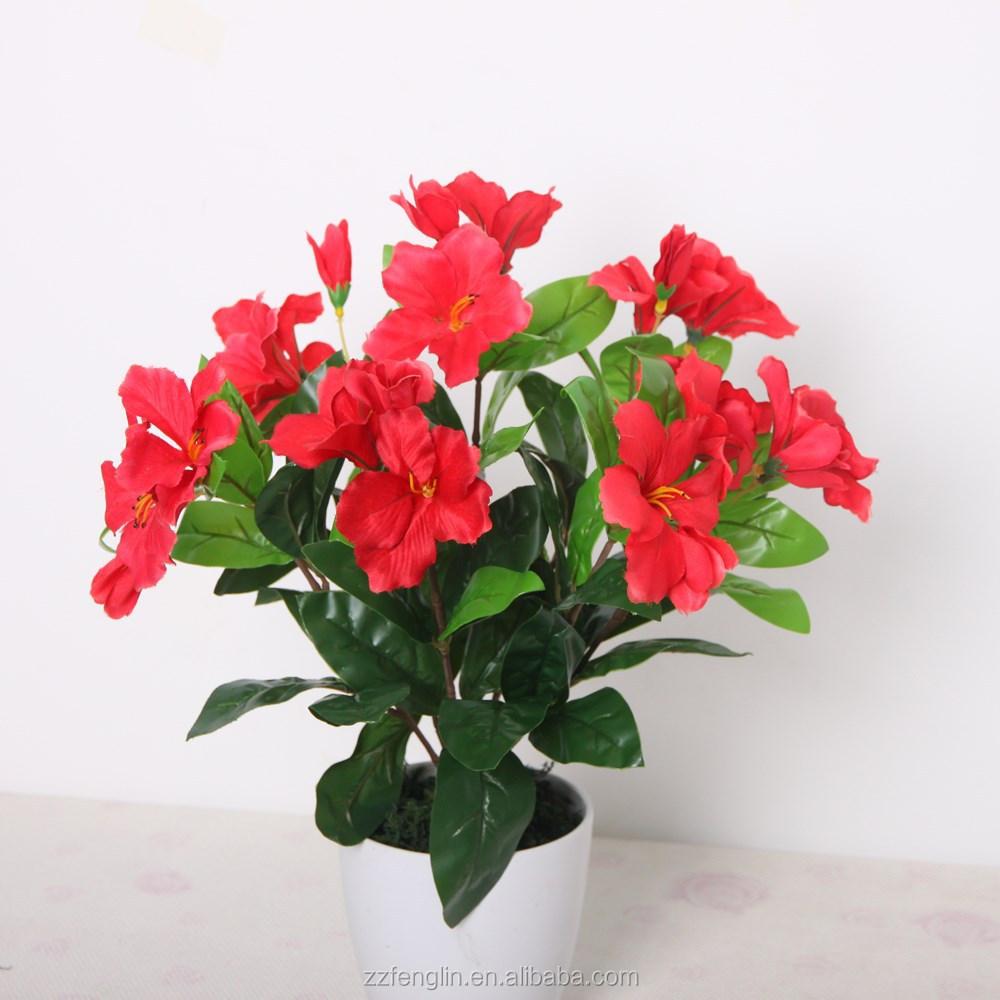 Red Azalea Plastic Flower Bouquet Cheap Wholesale
