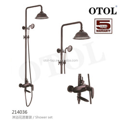Exposed Wall Mount Shower and Tub Filler Faucet Set with Large Solid Brass Rainfall Head and Handheld Shower Single Handles