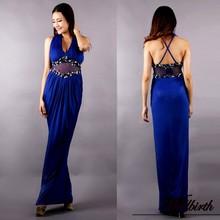 Wb-1270 imagen real wellbirth formal vestido sexy vestido azul de encaje gasa vestido de noche