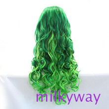 100% Lace front Full wig Heat resistant green synthetic wigs long deep wave with soft layers