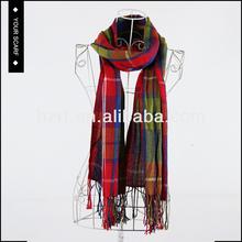 2015 nouveau design mode haute qualité femme vérifié écharpe à franges