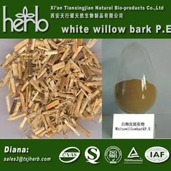 China Factory Supply 100% Natural White Willow Bark Extract / Salicin 20%-98%