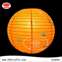 collapsible Orange color dot printing round hanging paper lantern