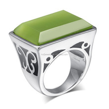 Fashion Stainless Steel Big Square Blue Stone Rings Jewelry 2015