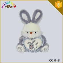 Best Selling Promotion Gifts Lovely Cute Bunny Long Ear Plush Rabbit With Heart Pillow