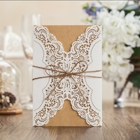 2015 new arrival wedding invitation card with laser cut PK14113