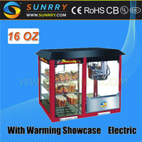 Industrial popcorn machine with 16 oz and warming showcase CE approved caramel popcorn machine (SUNRRY SY-PM16W)