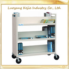 stainless steel book cart hot sell moving book cart trolley for book carrier used library for bookstores school book trolley