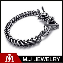 Punk Rock Silver Stainless Steel Dragon Chain Bracelet for Man Vintage Party Jewelry